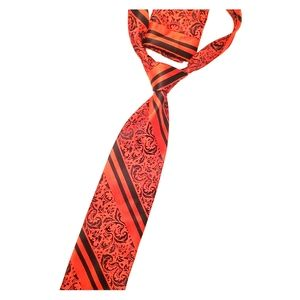 Red and black tie with pocket square